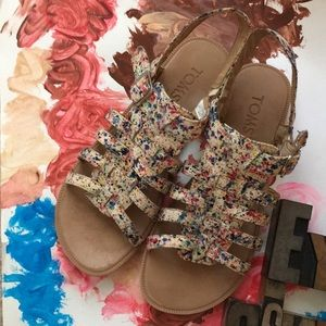 TOMS Youth Paint Spatter Huarache Sandals